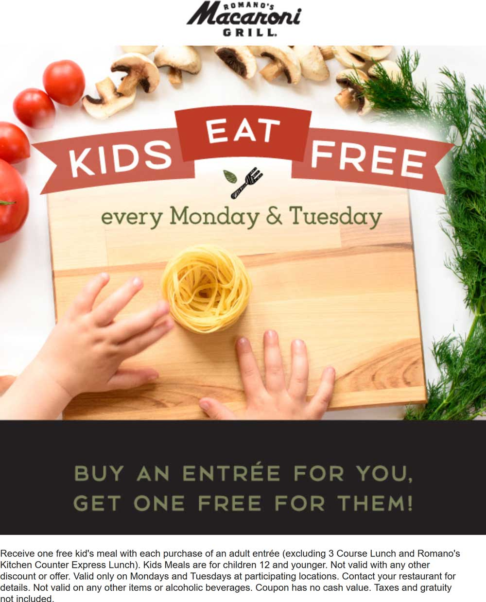MacaroniGrill.com Promo Coupon Kids eat free with your entree at Macaroni Grill