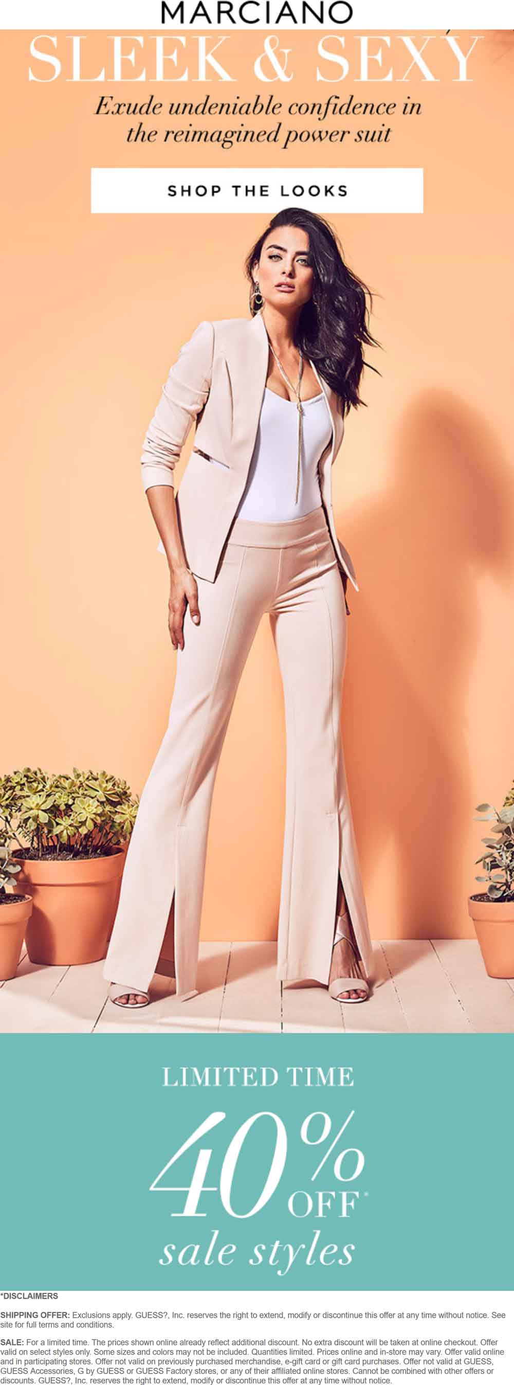 Marciano Coupon October 2018 Extra 40% off sale items at Marciano, ditto online