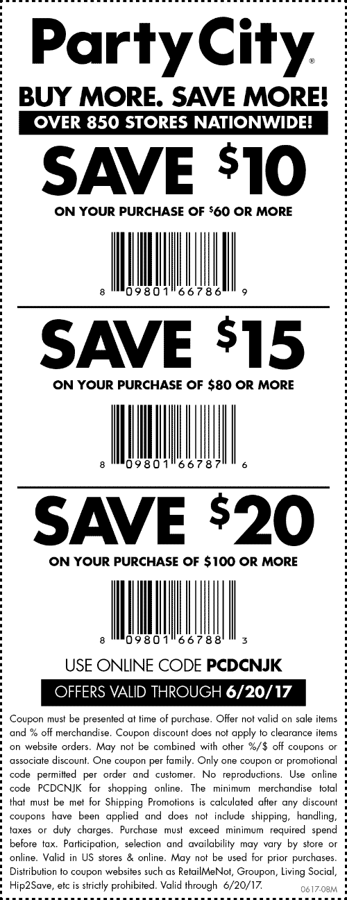 Party City Coupon December 2018 $10 off $60 & more at Party City, or online via promo code PCDCNJK