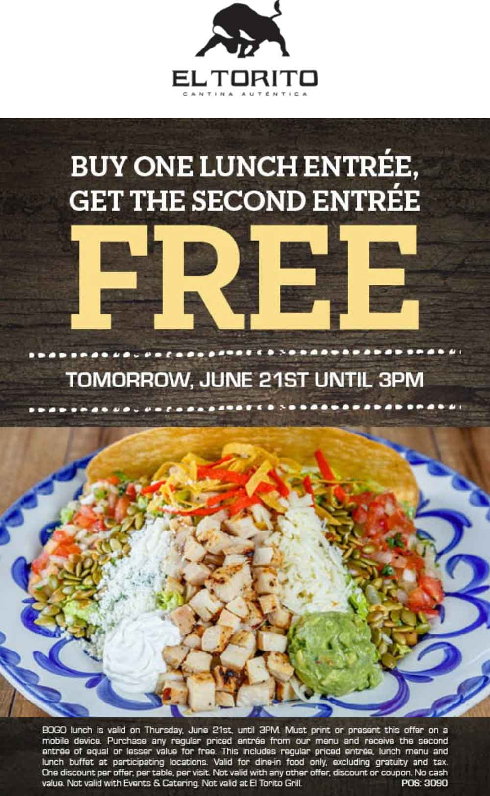 El Torito Coupon December 2018 Second lunch free today at El Torito
