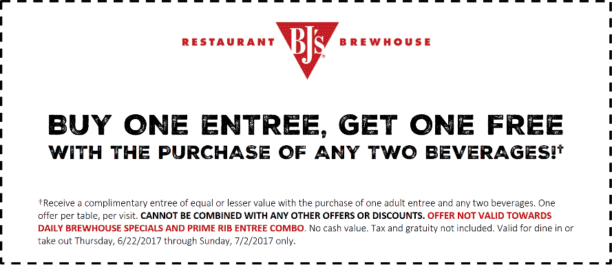 BJs Restaurant Coupon December 2018 Second entree free at BJs Restaurant