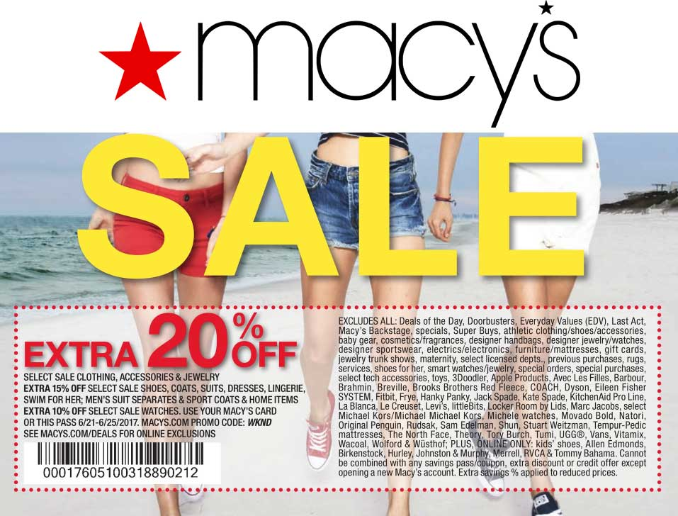 Macys.com Promo Coupon Extra 20% off at Macys, or online via promo code WKND