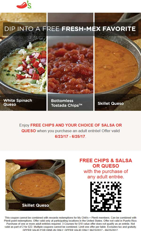Chilis Coupon August 2018 Free chips & queso with your entree at Chilis
