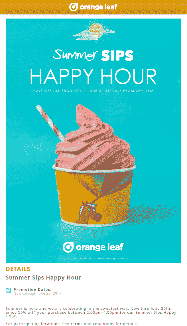 Orange Leaf Coupon October 2018 50% off everything 2-4p at Orange Leaf frozen yogurt