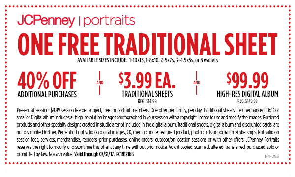 JCPenney Coupon March 2019 Free 10x13 portrait + 40% off at JCPenney