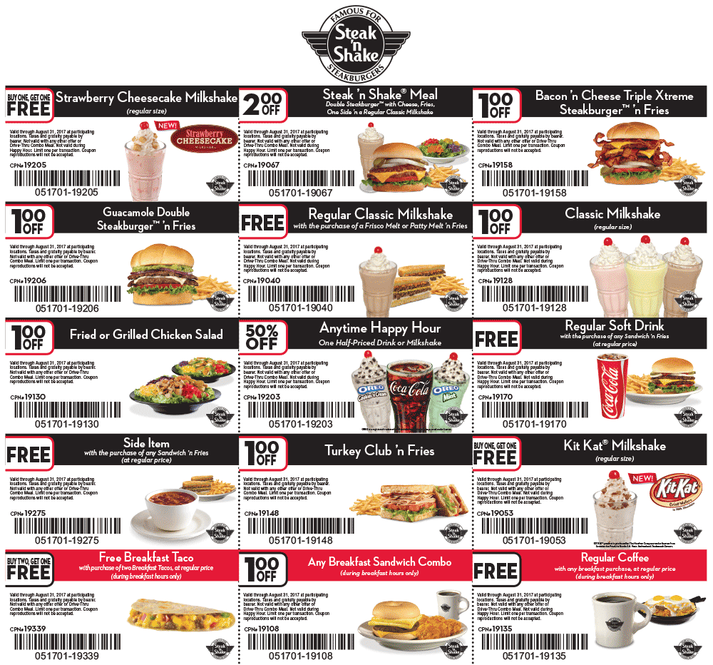 Steak & shake coupons