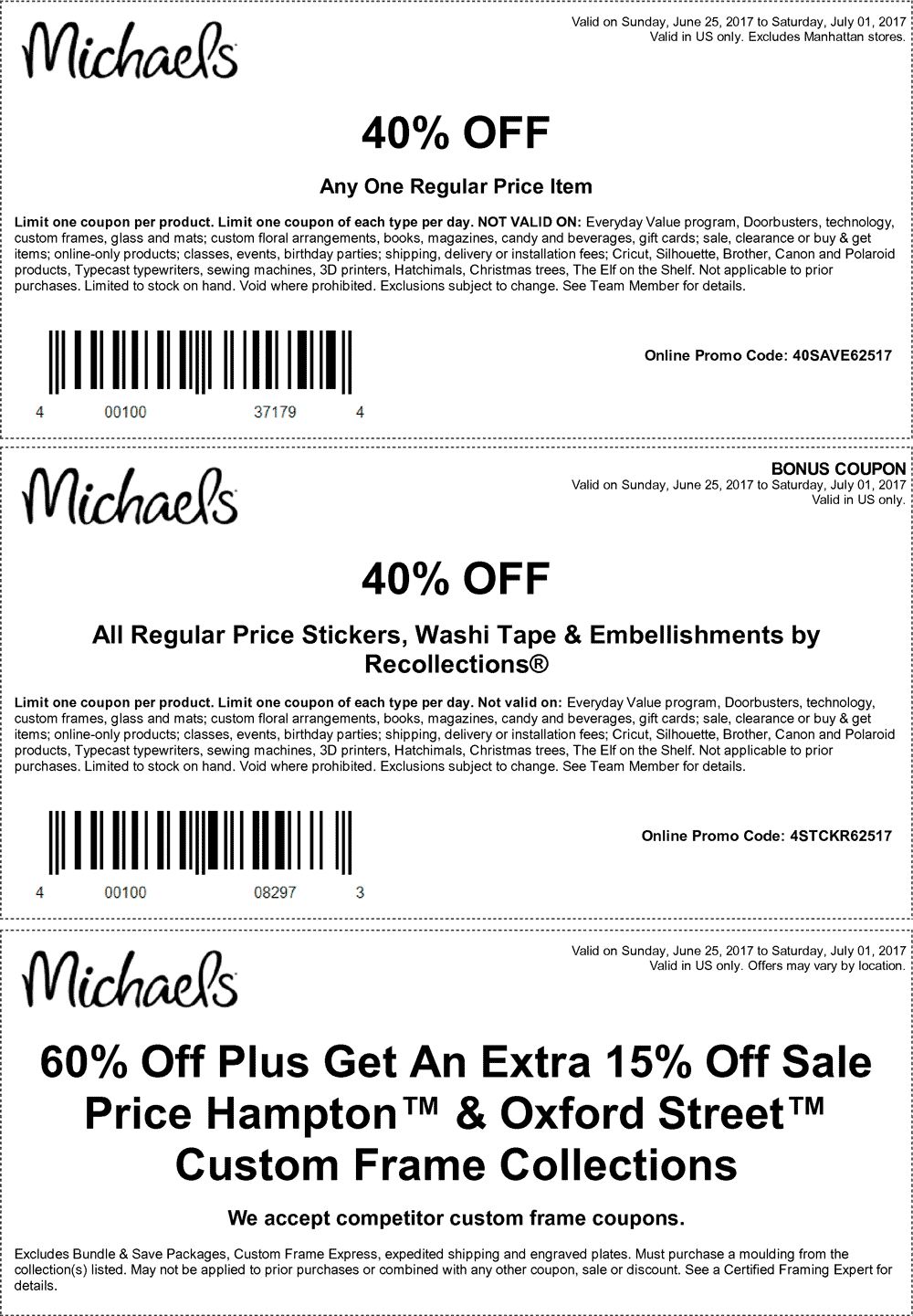 Michaels.com Promo Coupon 40% off a single item at Michaels, or online via promo code 40SAVE62517