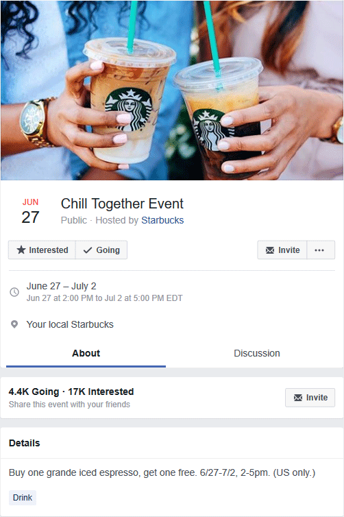 Starbucks Coupon August 2018 Second iced espresso free 2-5p at Starbucks