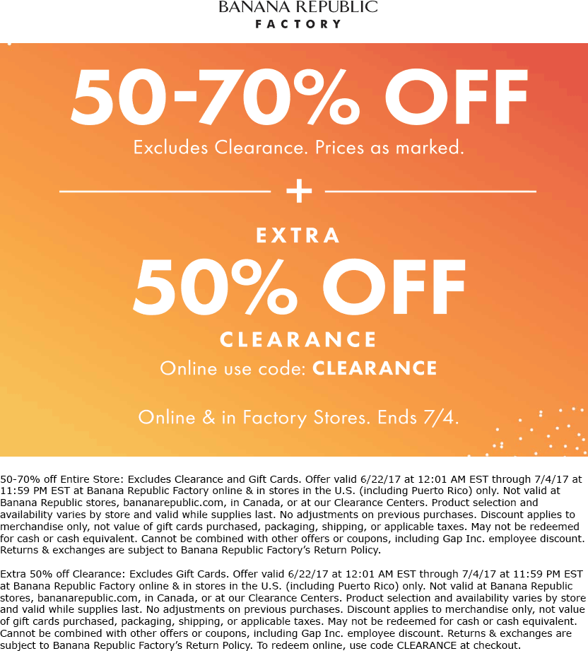 Banana Republic Factory Coupon March 2019 Extra 50-70% off at Banana Republic Factory, or online via promo code CLEARANCE