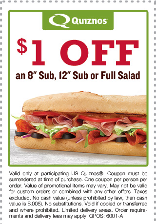 Quiznos Coupon August 2018 Shave a buck off your sub or salad at Quiznos
