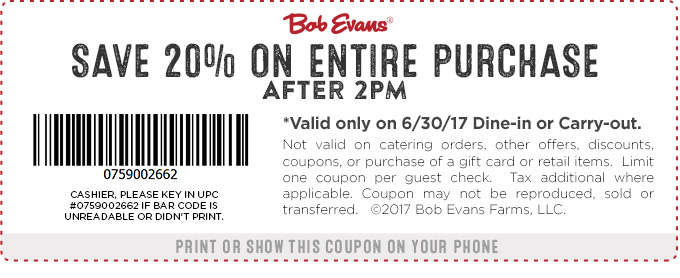 Bob Evans Coupon August 2018 20% off after 2p today at Bob Evans restaurants