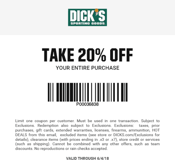 Dicks Coupon June 2019 20% off at Dicks sporting goods