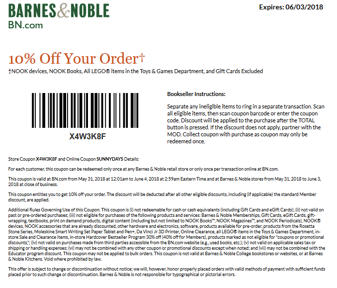 Barnes Noble Coupons 10 Off At Barnes Noble Or Online Via