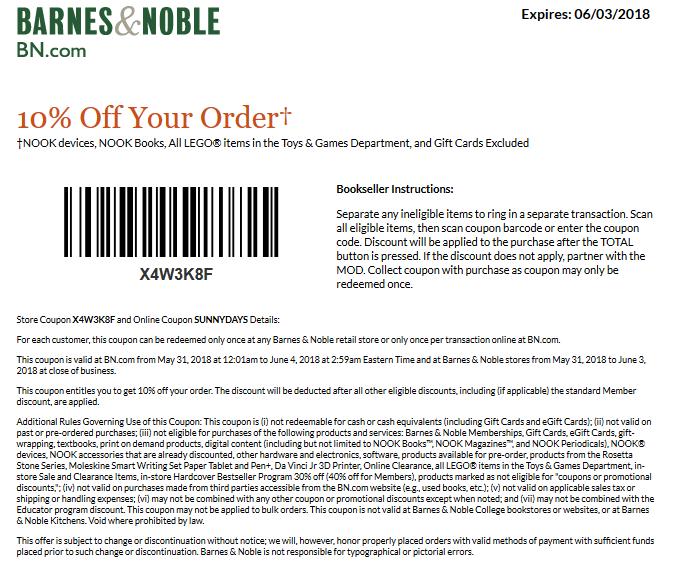Barnes&Noble.com Promo Coupon 10% off at Barnes & Noble, or online via promo code SUNNYDAYS