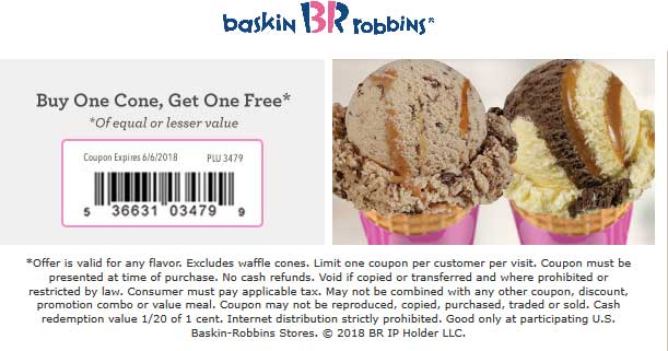 Baskin Robbins Coupon December 2018 Second ice cream cone free at Baskin Robbins