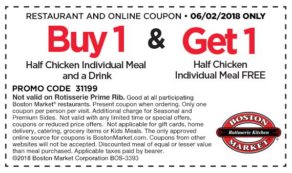 Boston Market Coupon December 2018 Second half chicken meal free today at Boston Market