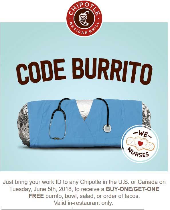 Chipotle.com Promo Coupon Nurses enjoy a second burrito or bowl free Tuesday at Chipotle restaurants