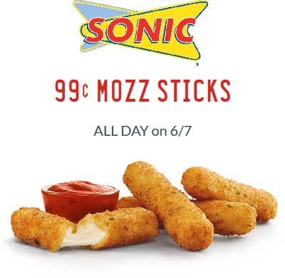 SonicDrive-In.com Promo Coupon $1 mozzarella sticks Thursday at Sonic Drive-In restaurants