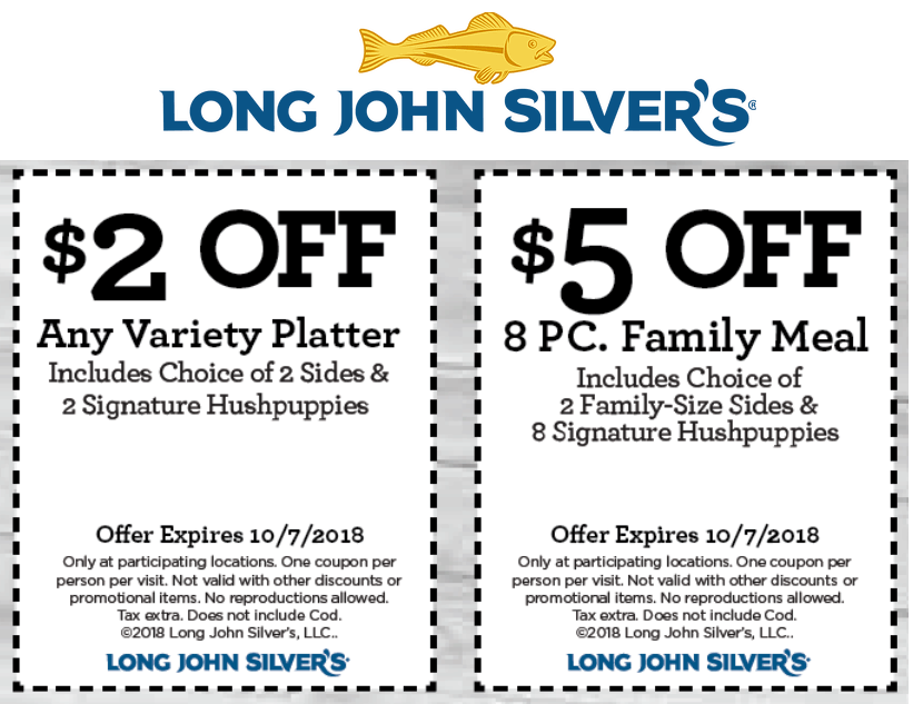 Long John Silvers Coupon March 2019 $2 off a platter & more at Long John Silvers restaurants