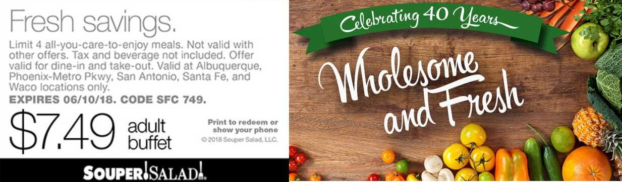 SouperSalad.com Promo Coupon $7.49 buffet at Souper Salad