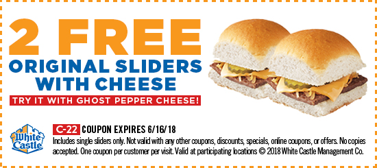 WhiteCastle.com Promo Coupon 2 free cheeseburgers at White Castle