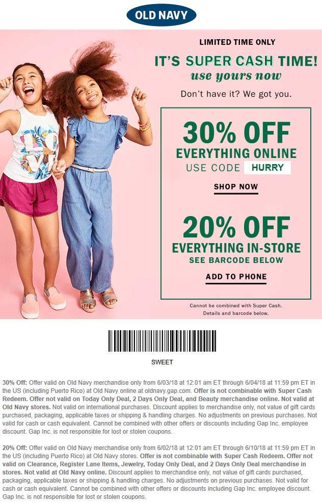 Old Navy Coupon December 2018 20% off today at Old Navy, or 30% online via promo code HURRY