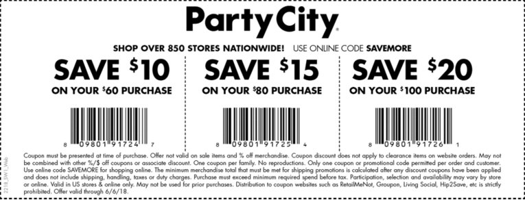 Party City Coupon December 2019 $10 off $60 & more at Party City, or online via promo code SAVEMORE