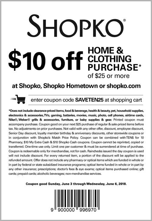 Shopko Coupon December 2018 $10 off $25 at Shopko, or online via promo code SAVETEN25
