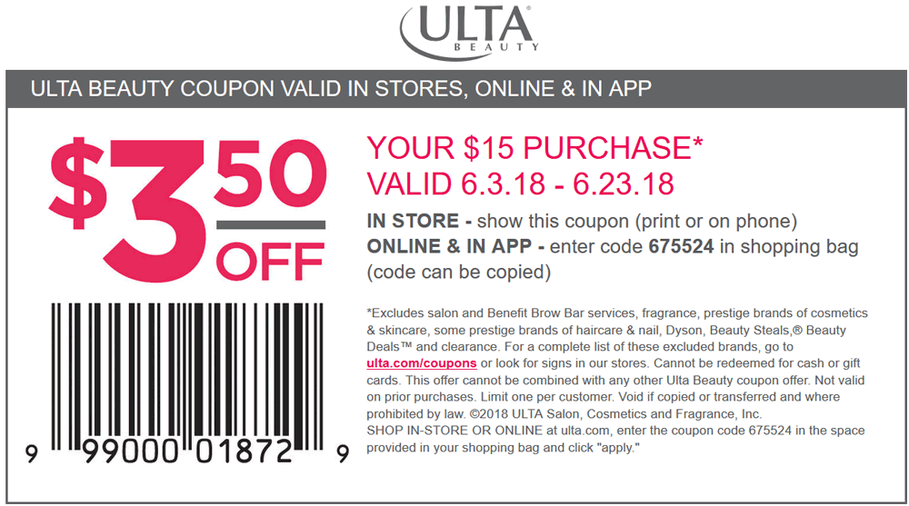 Ulta Beauty Coupon October 2018 $3.50 off $15 at Ulta Beauty, or online via promo code 675524