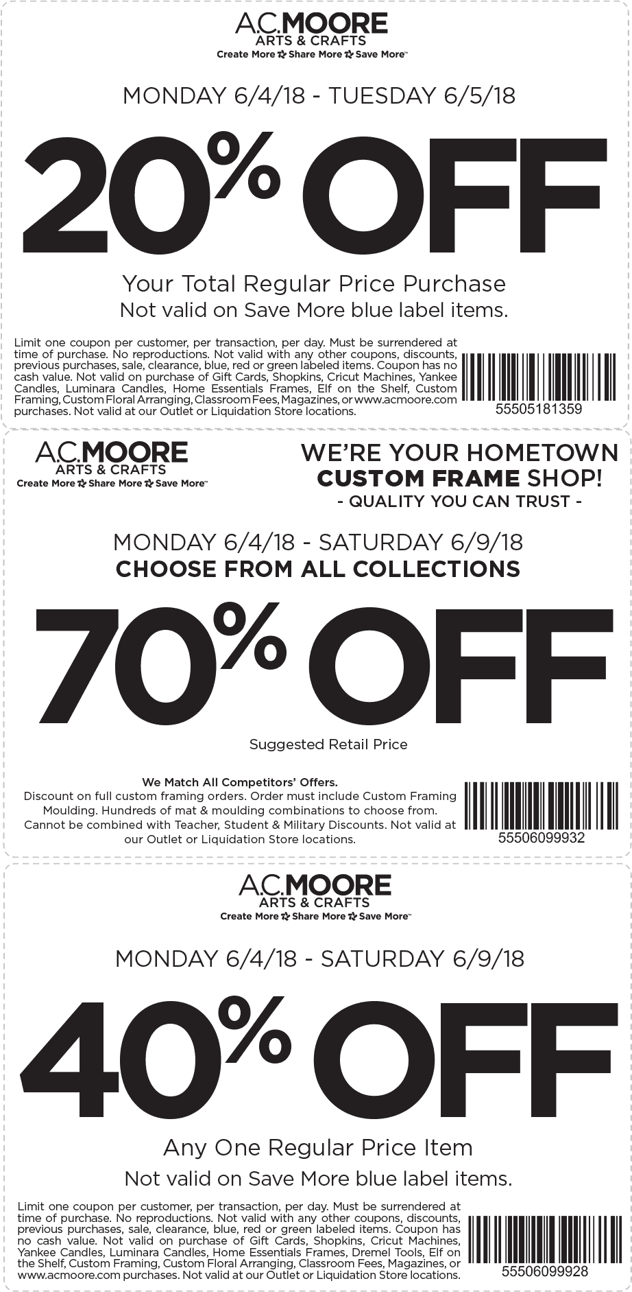 A.C. Moore Coupon September 2018 40% off a single item at A.C. Moore
