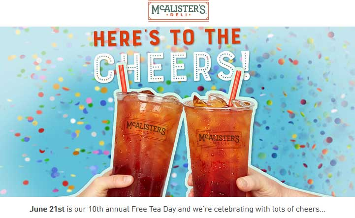 McAlisters Deli Coupon April 2019 Free iced tea the 21st at McAlisters Deli