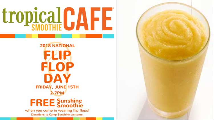 Tropical Smoothie Cafe Coupon June 2019 Free sunshine smoothie the 15th at Tropical Smoothie Cafe