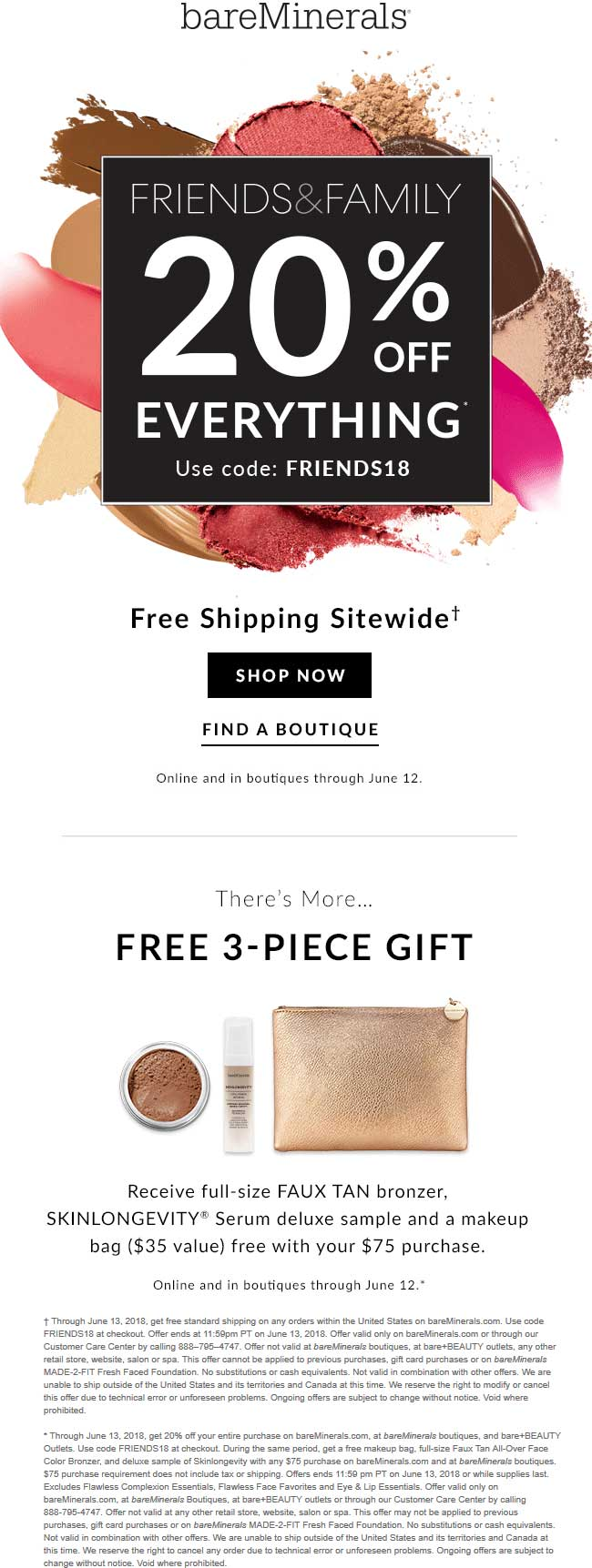 bareMinerals.com Promo Coupon 20% off everything at bareMinerals, or online via promo code FRIENDS18