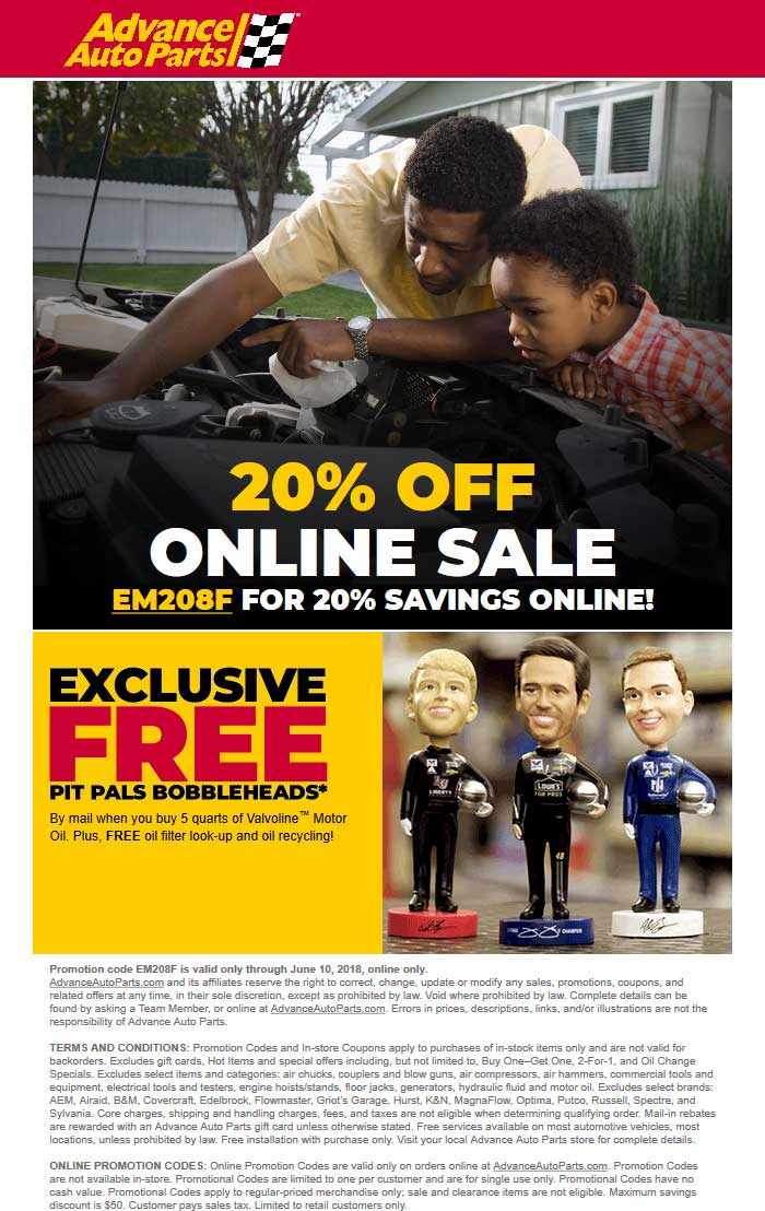 AdvanceAutoParts.com Promo Coupon 20% off online at Advance Auto Parts via promo code EM208F