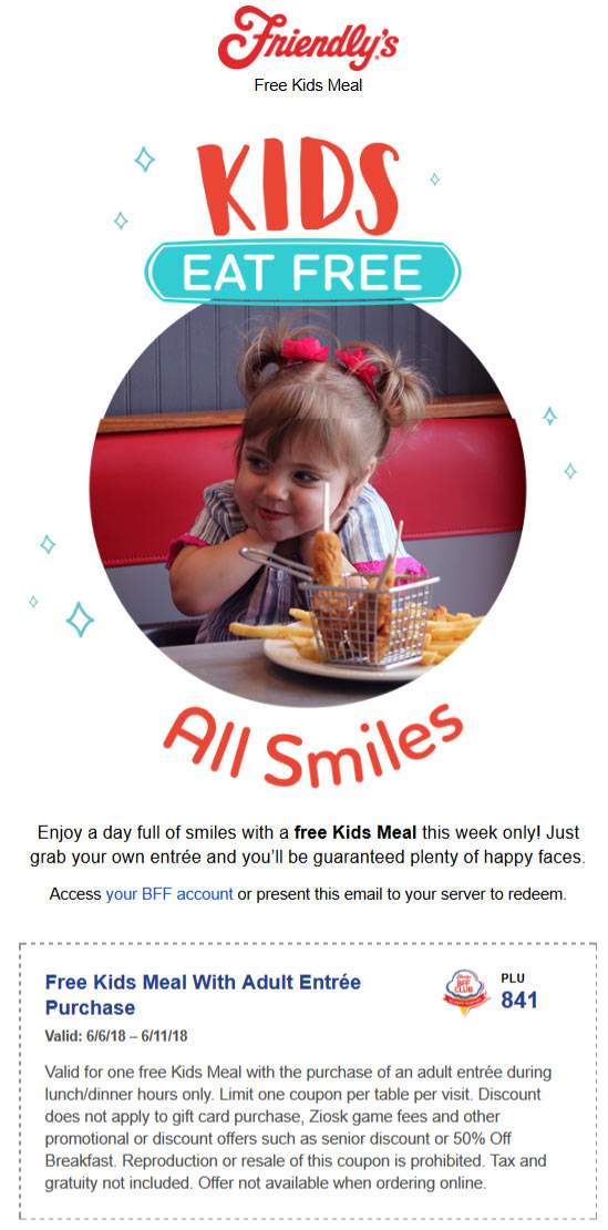 Friendlys.com Promo Coupon Kids eat free at Friendlys restaurants