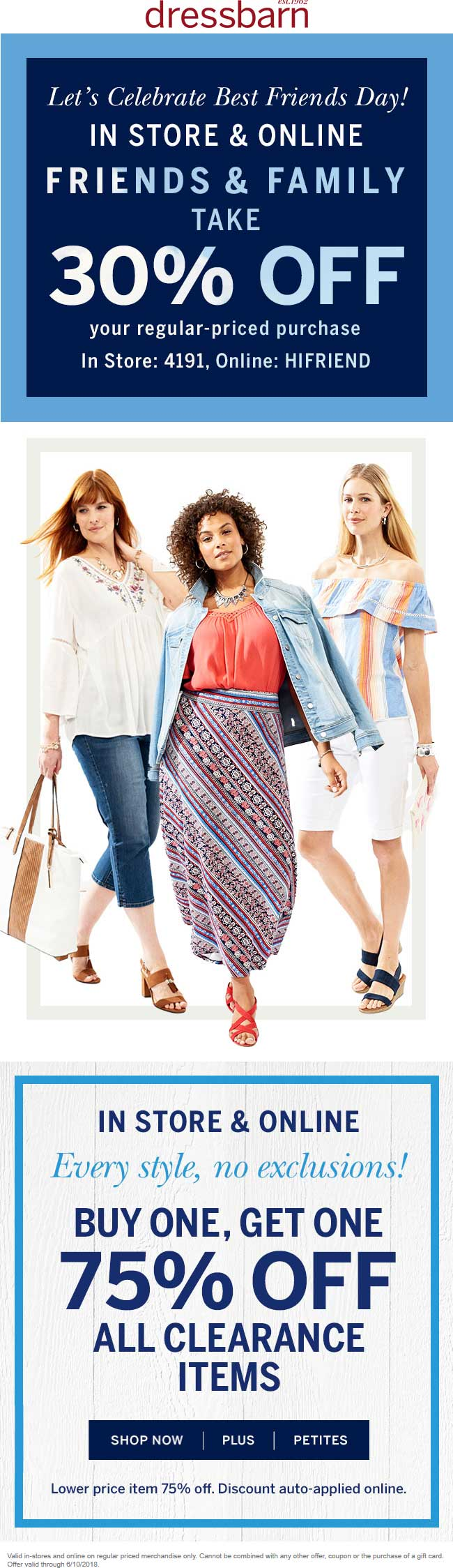 Dressbarn.com Promo Coupon 30% off at Dressbarn, or online via promo code HIFRIEND