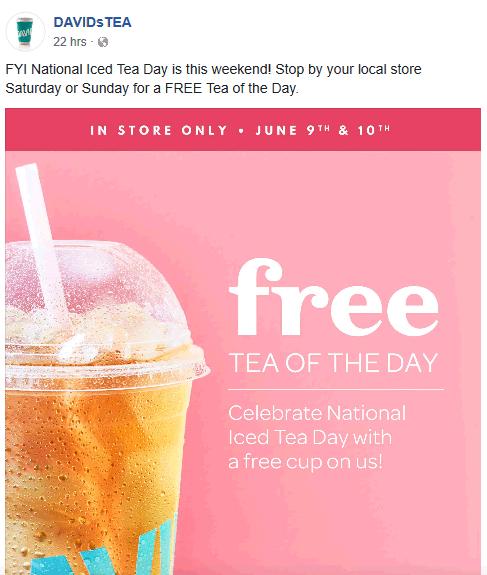 Davids Tea Coupon March 2019 Free iced tea at Davids Tea