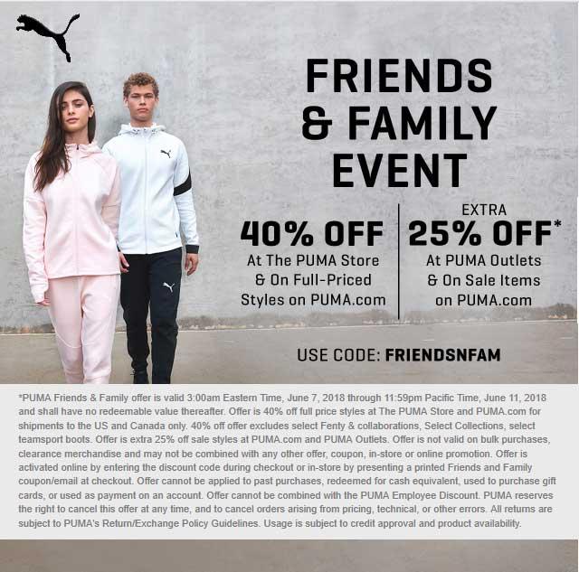 Puma Coupon March 2019 40% off at PUMA, or online via promo code FRIENDSNFAM