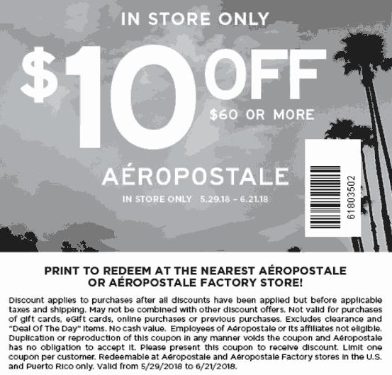 Aeropostale.com Promo Coupon $10 off $60 at Aeropostale