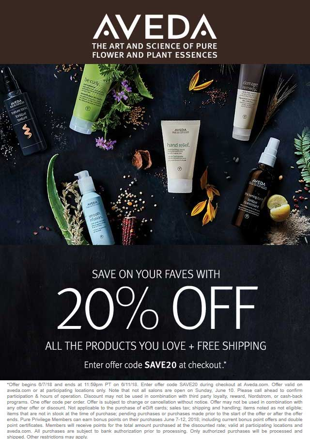 Aveda.com Promo Coupon 20% off at Aveda, or online via promo code SAVE20