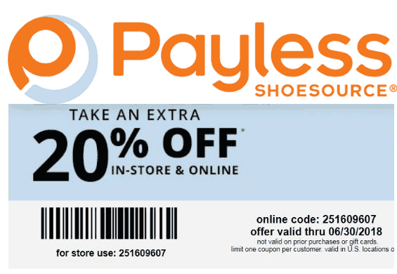 PaylessShoesource.com Promo Coupon Extra 20% off at Payless Shoesource, or online via promo code 251609607