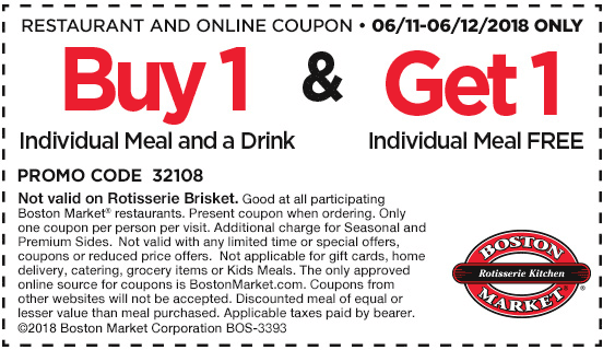 Boston Market Coupon June 2018 Second meal free at Boston Market
