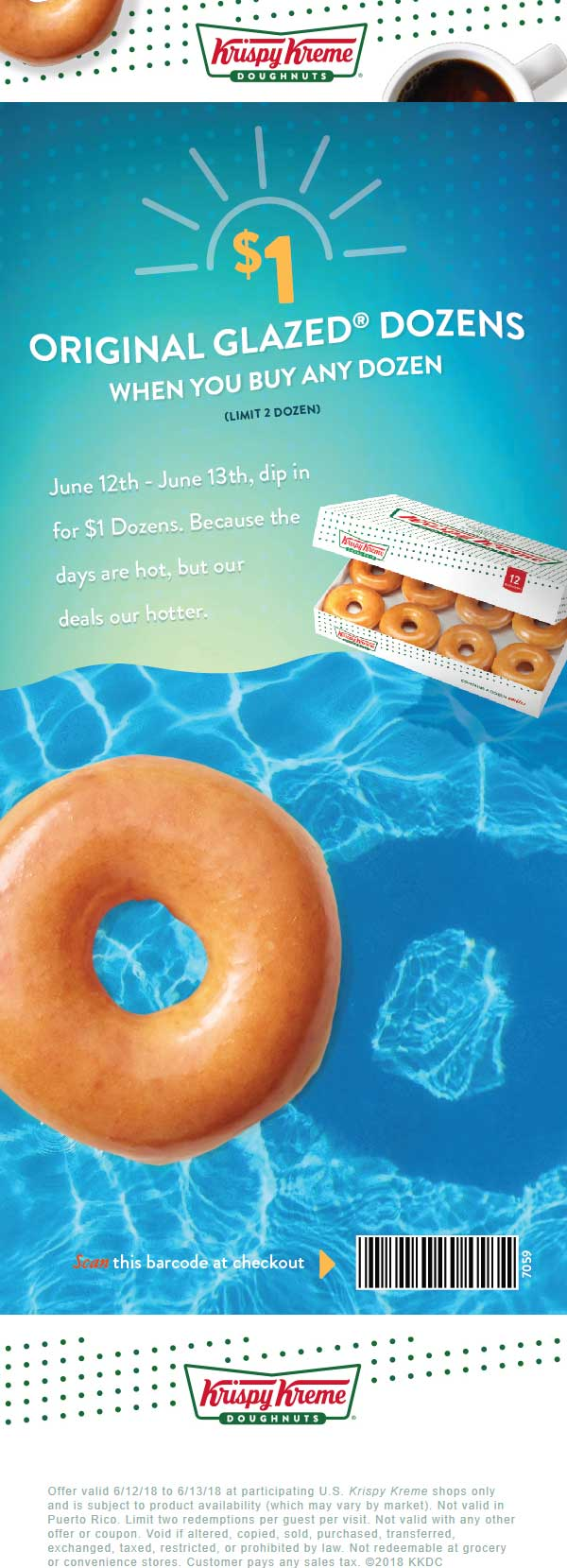 Krispy Kreme Coupon July 2018 Second dozen doughnuts for $1 at Krispy Kreme