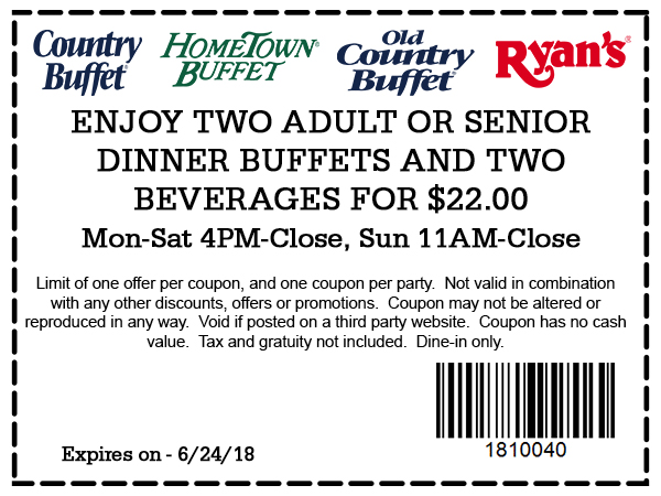 Hometown Buffet Coupon February 2019 2 dinner buffets + 2 drinks = $22 at Ryans, HomeTown Buffet & Old Country Buffet