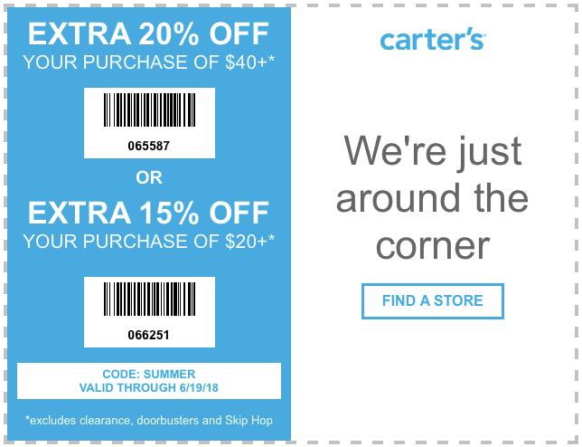 Carters Coupon December 2018 15-20% off at Carters, or online via promo code SUMMER