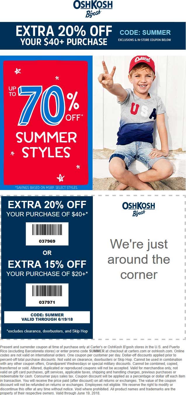 OshKoshBgosh.com Promo Coupon 20% off $40 at OshKosh Bgosh, or online via promo code SUMMER