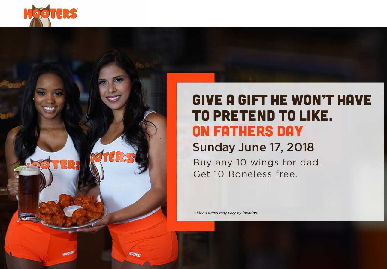 Hooters.com Promo Coupon Second 10pc wings free Sunday at Hooters restaurants