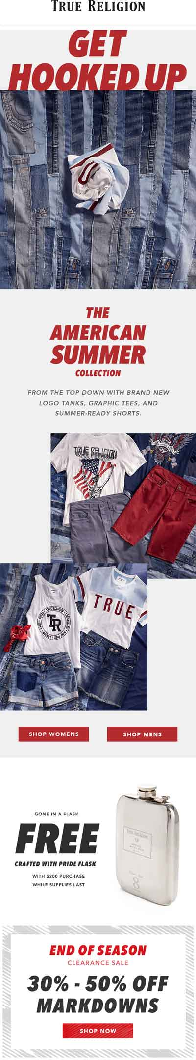 True Religion Coupon October 2018 30-50% off markdowns + free flask at True Religion, ditto online
