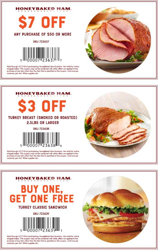HoneyBaked.com Promo Coupon Second turkey sandwich free & more at HoneyBaked Ham