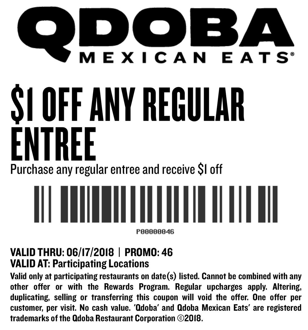 Qdoba.com Promo Coupon $1 off your entree at Qdoba Mexican Eats